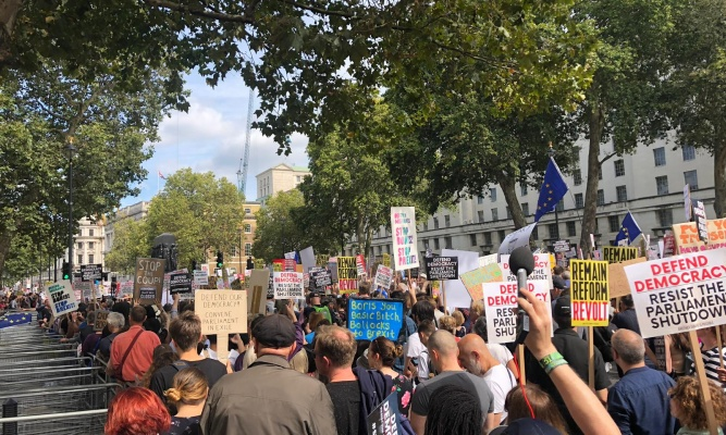 Protesters in Westminster on Saturday morning. CNN